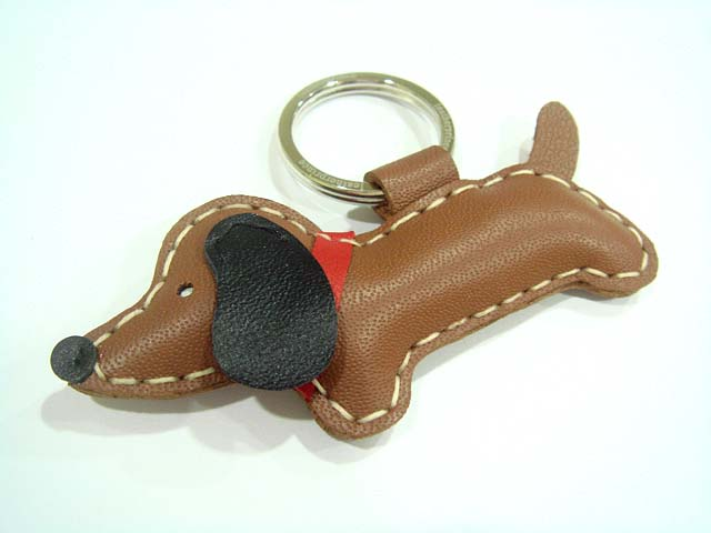 Jemma the dachshund Leather Keychain ( Brown )