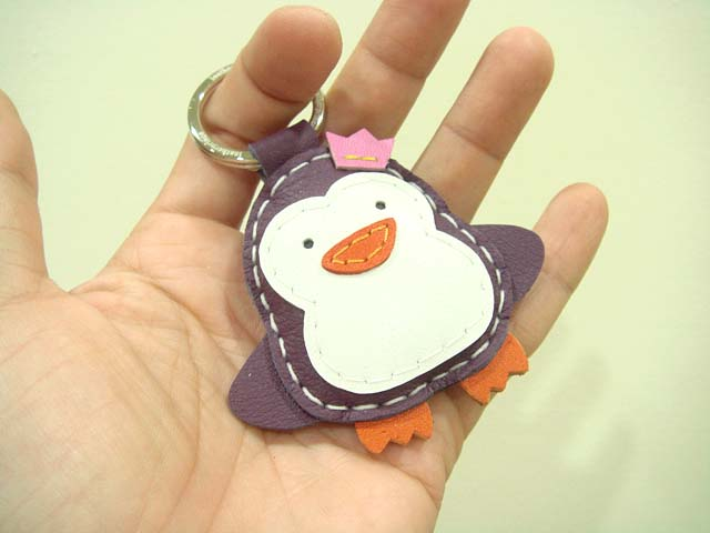 Perry the Penguin Leather Charm / keychain ( Purple )