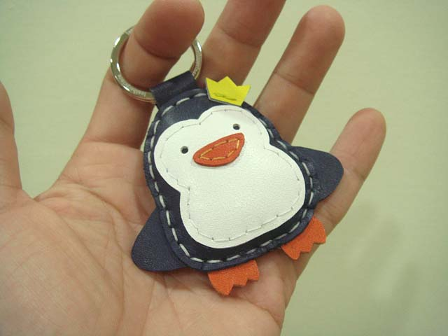 Perry the Penguin Leather Keychain / charm( Dark Blue )
