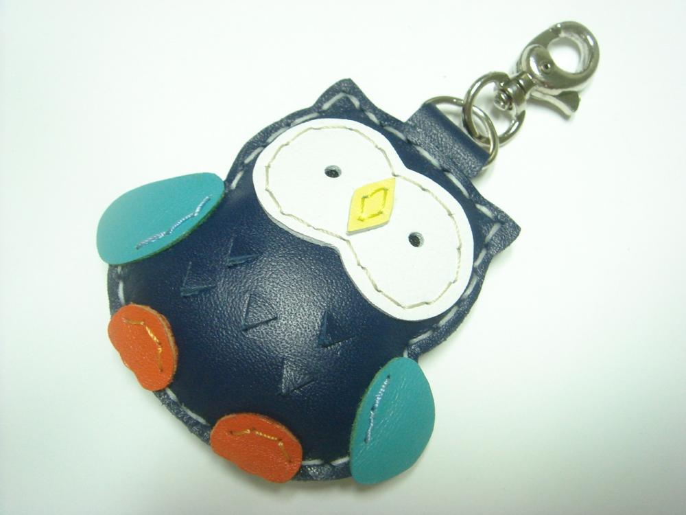Lovely Fanny the Owl Leather Charm ( Dark Blue )