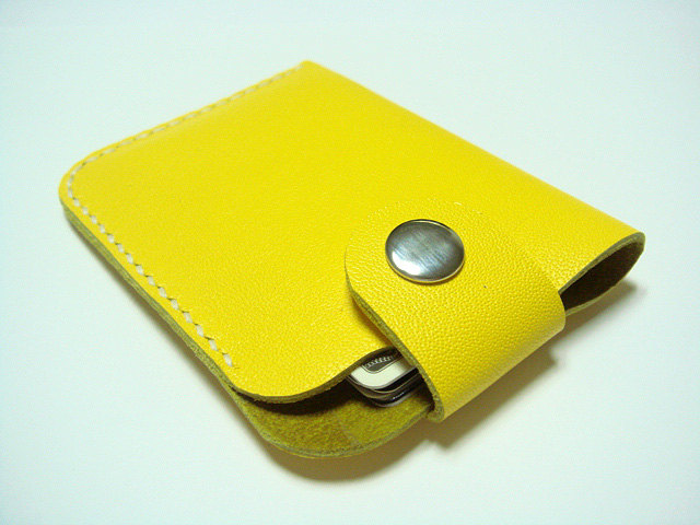 Men / Women Leather Cardholder ( Yellow )