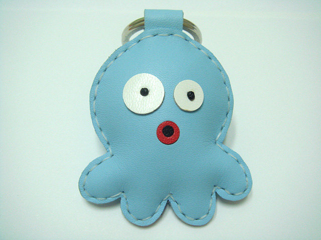 Cookie the Octopus Leather Keychain ( Light Blue )