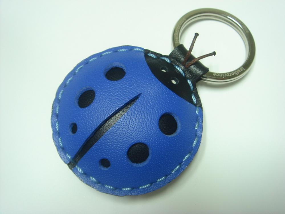 Penny the LadyBug Leather Keychain ( Blue )