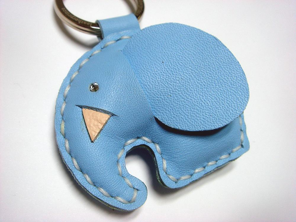 New Laura the Elephant Leather Keychain ( Light Blue )