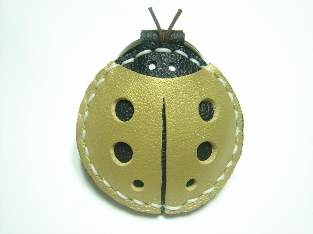 Penny the LadyBug Leather Keychain ( Metallic Gold )