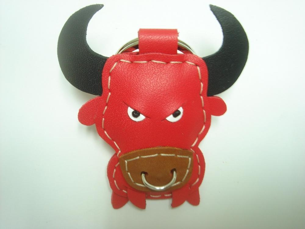Paul the Bull Leather Keychain ( Red )