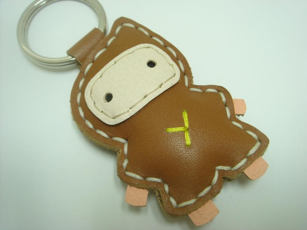 Lovely Taka the Ninja Leather Keychain ( Brown )