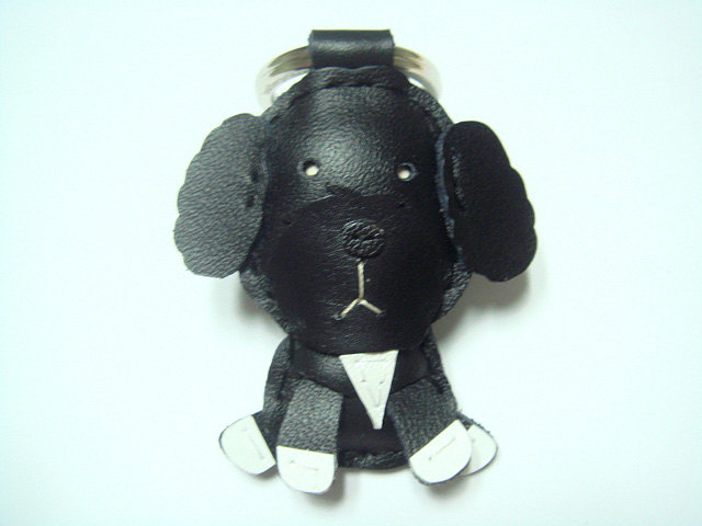 Leather Keychain - Riley the Portuguese Water Dog leather charm ( Black )
