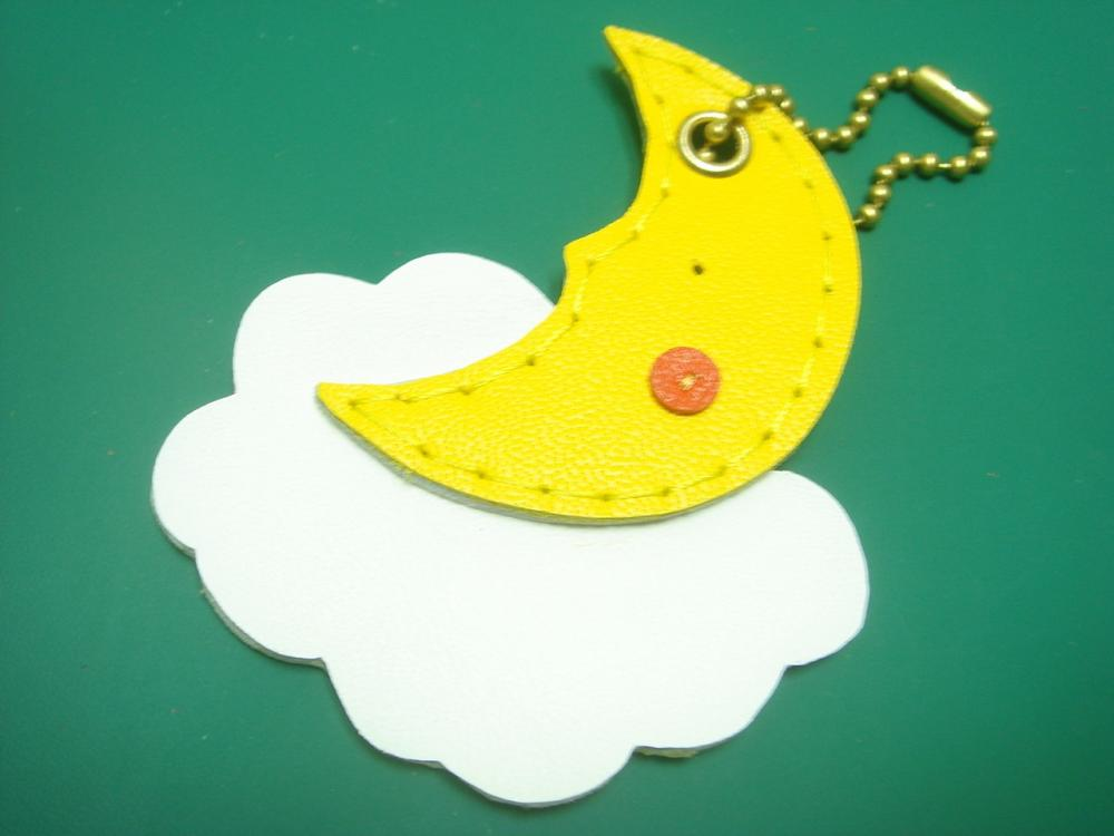 Mandy the Moon Leather Bag Charm ( Yellow )