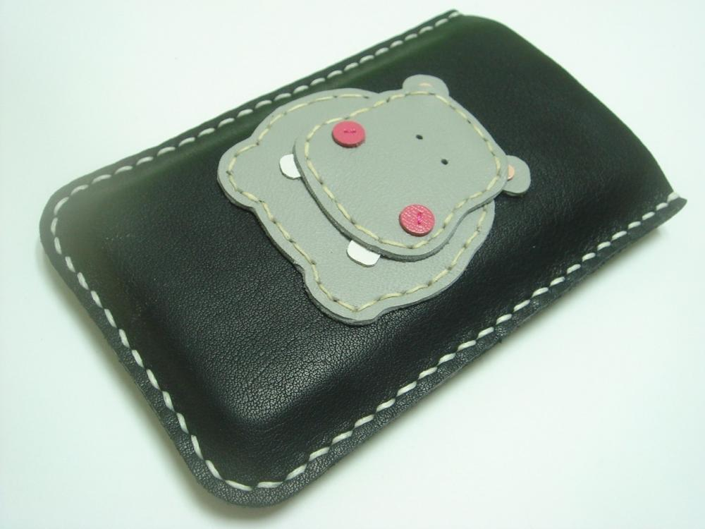 Hugo the Hippo iPhone leather case ( Black and Grey )