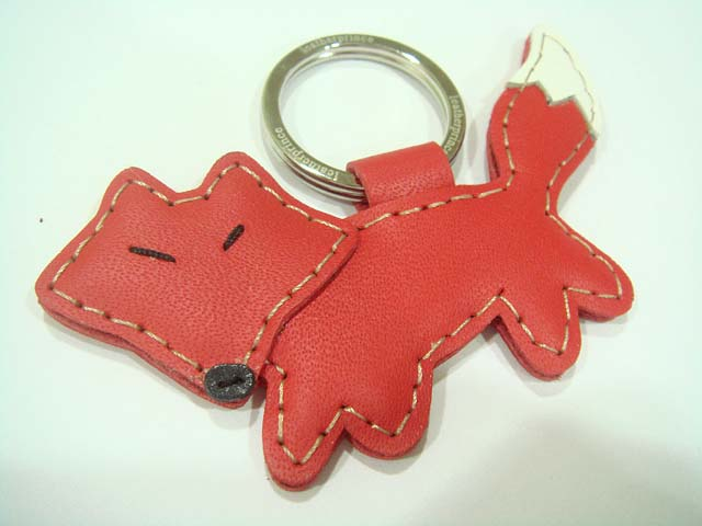 Kato the Fox Leather Keychain ( Red )