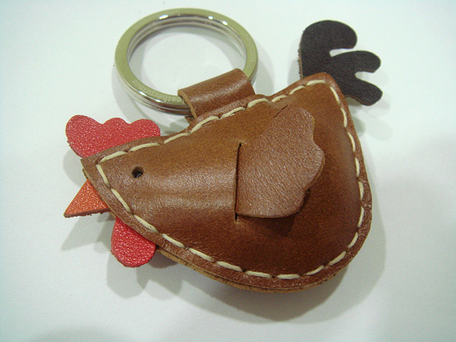 Rebacca the Rooster Leather Charm ( Brown )