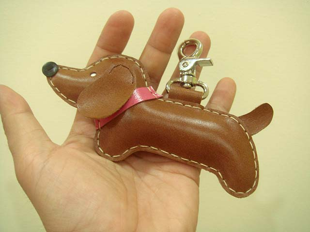 BIG Copper the Dachshund Leather Charm ( Brown )