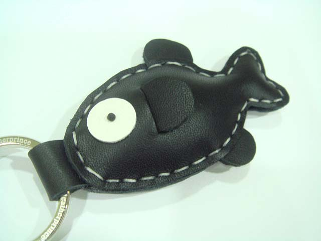 Karen the Fish Leather Keychain ( Black )
