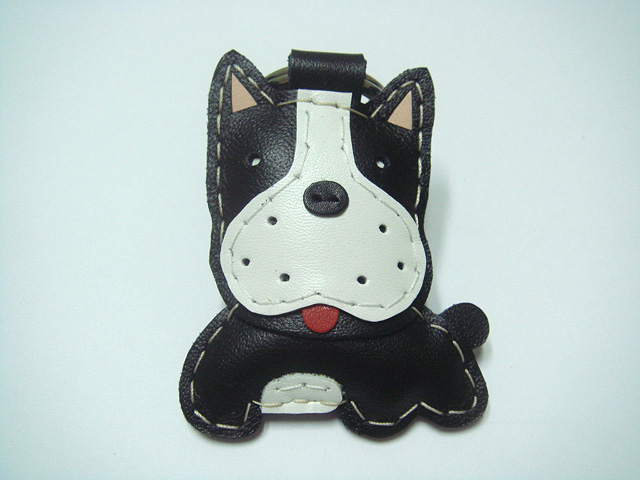 Boston Terrier Leather Keychain ( Black )