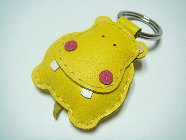Hugo the Hippo Leather Keychain ( Yellow )