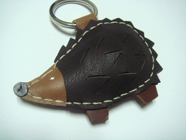 Heather the Hedgehog Leather Keychain ( Dark Brown )