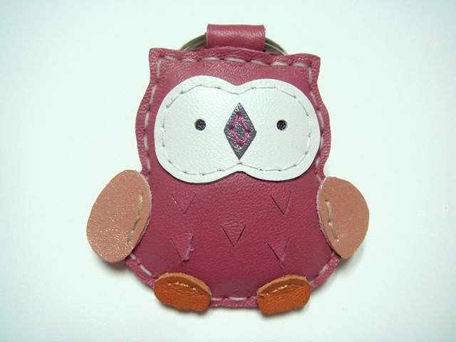 Lovely Fanny the Owl Leather Keychain ( Rose Pink )