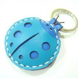 Penny the LadyBug leather charm / Keychain ( Blue )