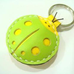 Penny the ladybug leather charm / keychain ( Green / Yellow )