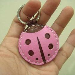 Penny the LadyBug Leather Keychain / charm ( Pink / Brown )