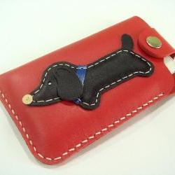 Jemma the Dachshund iPhone Leather Case ( Red )