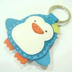 Perry the Penguin Leather Keychain ( Turquoise )