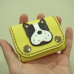 Deuce the Boston Terrier Leather Coin Pouch ( Yellow )