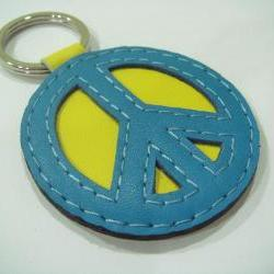 Peace Symbol leather keychain ( Blue / Yellow )