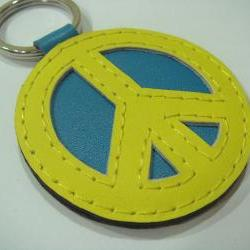 Peace Symbol leather keychain ( Yellow / Blue )