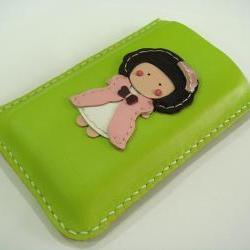 Princess Kelly iPhone leather case with bumper case size ( Lime Green )