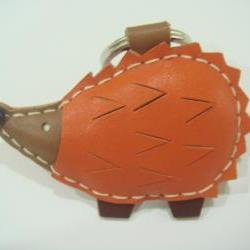 Heather the Hedgehog Leather Keychain ( Orange )