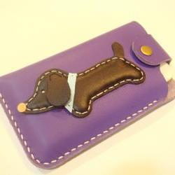 Jemma the Dachshund iPhone Leather Case ( Purple )
