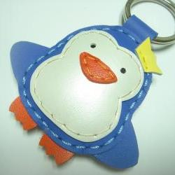 Perry the Penguin Leather Keychain ( Blue )