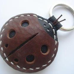 Penny the LadyBug Leather Keychain ( Brown - Thick Leather )