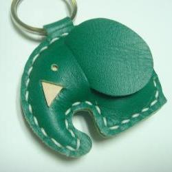 Laura the Elephant Leather Keychain ( Dark Green )