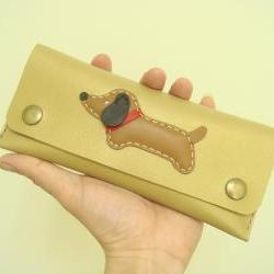 Jemma the Dachshund Leather Pencil Case ( Gold )