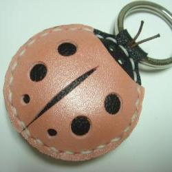 Penny the LadyBug Leather Keychain ( Metallic Pink )