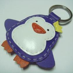 Leather Keychain - Perry the Penguin Leather Charm ( Bright Purple )