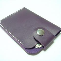 Men / Women Leather Cardholder ( Purple )