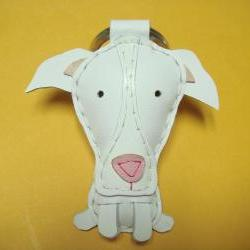Elle the Great Dane leather keychain ( White )