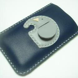 Laura the elephant iPhone Leather Case ( Dark Blue )
