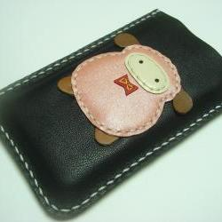 Nicole the Sheep iPhone Leather Case ( Black and Metallic Pink )