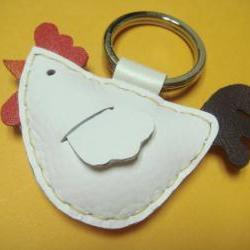 Leather keychain - Rebacca the Rooster Leather Charm ( White )