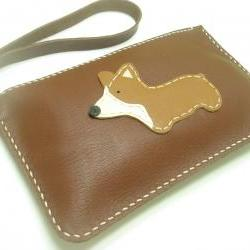 NaNa the Corgi leather Wristlet ( Dark Brown )