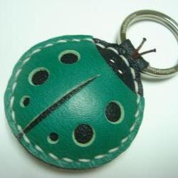 Penny the LadyBug Leather Keychain ( Dark Green )
