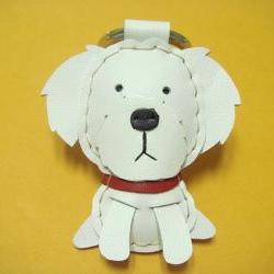 Leather Keychain - Moli the Maltese Leather Charm ( White )