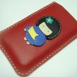 Sakura the Geisha Doll iPhone Leather Case ( Red )