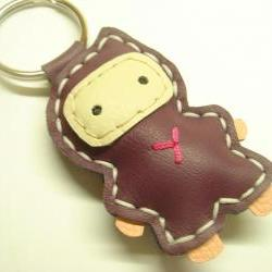 Lovely Taka the Ninja Leather Keychain ( Purple )