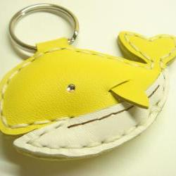 New Umi the Whale Leather Keychain ( Yellow )